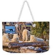 Pack Of Arctic Wolves Watching A Polar Bear Movie Weekender Tote Bag