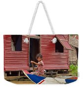 Paddling Through The Village Weekender Tote Bag