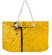 Padlock On An Old Yellow Door Weekender Tote Bag