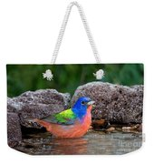 Painted Bunting Passerina Ciris In Water Weekender Tote Bag