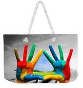 Painted Colorful Hands Showing Way To Colorful Happy Life Weekender Tote Bag