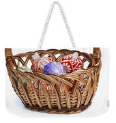 painted Easter Eggs in wicker basket Weekender Tote Bag