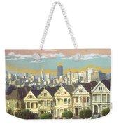 San Francisco Alamo Square - Watercolor Illustration Weekender Tote Bag