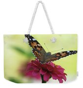 Painted Lady Butterfly On Zinnia Weekender Tote Bag