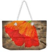 Painted Poppy On Wood Weekender Tote Bag
