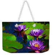 Painted Purple Water Lilies Weekender Tote Bag