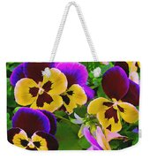 Painterly Purple Pansy Weekender Tote Bag