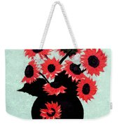 Painterly Red Sunflowers With Purple Weekender Tote Bag