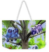 Painting Of Owls And Birds Nest In Tree Weekender Tote Bag