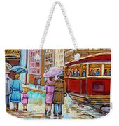 Paintings Of Fifties Montreal-downtown Streetcar-vintage Montreal Scene Weekender Tote Bag