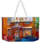 Paintings Of Montreal Fairmount Bagel Shop Weekender Tote Bag by Carole Spandau