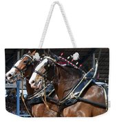 Pair Of Budweiser Clydesdale Horses In Harness Usa Rodeo Weekender Tote Bag