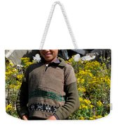 Pakistani Boy In Front Of Hotel Ruins In Swat Valley Weekender Tote Bag