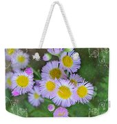Pale Pink Fleabane Blooms With Decorations Weekender Tote Bag