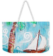 Palm Tree And Sailboat By Jan Marvin Weekender Tote Bag