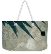 Palm Tree Shadow On Wall With Holes Weekender Tote Bag