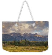Panaroma Clearing Storm On A Fall Morning In Grand Tetons National Park Weekender Tote Bag