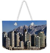 Pano Vancouver Snowy Skyline Weekender Tote Bag by David Smith