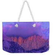Panorama Alpenglow On Mount Whitney Eastern Sierras California Weekender Tote Bag