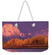 Panorama Dawn Lights Up Mount Moran In Grand Tetons National Park Weekender Tote Bag