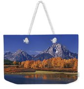 Panorama Fall Morning Oxbow Bend Grand Tetons National Park Wyoming Weekender Tote Bag