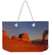 Panorama Moonrise Over Delicate Arch Arches National Park Utah Weekender Tote Bag