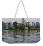 Panorama Of Coal Harbour And Vancouver Skyline At Dusk Weekender Tote Bag