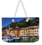 Panorama Of Portofino Harbour Italian Riviera Weekender Tote Bag
