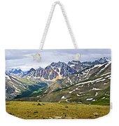 Panorama Of Rocky Mountains In Jasper National Park Weekender Tote Bag