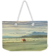 Panoramic Of Surfers On Long Beach, Bc Weekender Tote Bag