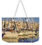 Panoramic Painting Of Mikrolimano Weekender Tote Bag