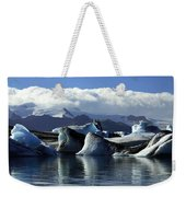 Panoramic View Of Icebergs And Glaciers Weekender Tote Bag