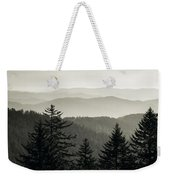 Panoramic View Of Trees With A Mountain Weekender Tote Bag