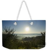 Panoramic View Over The Foggy Field Weekender Tote Bag