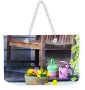 Pansies And Watering Cans On Steps Weekender Tote Bag