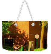 Papa And The Little Ones Sunday Afternoon Stroll On The Avenues Montreal City Scene Carole Spandau Weekender Tote Bag