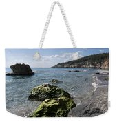 Binigaus Beach In South Coast Of Minorca Island Europe - Paradise Is Not Far Away Weekender Tote Bag