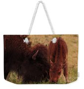 Parent With Newborn Calf Bison Weekender Tote Bag