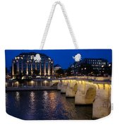 Paris Blue Hour - Pont Neuf Bridge And La Samaritaine Weekender Tote Bag