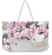 Paris Pink Flowers, Parisian Shabby Chic Paris Flower Box - Paris Floral Decor Weekender Tote Bag