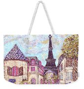Paris Eiffel Tower Skyline Inspired Pointillist Landscape Weekender Tote Bag