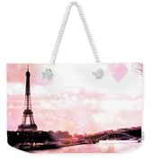 Paris Eiffel Tower Pink - Dreamy Pink Eiffel Tower With Hot Air Balloon Weekender Tote Bag
