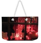 Paris Holiday Christmas Wine Window Display - Paris Red Holiday Wine Bottles Window Display  Weekender Tote Bag