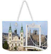 Parish Church And Elizabeth Bridge In Budapest Weekender Tote Bag