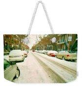Parked Cars Snowed In Cold December Day Verdun Painting Quebec Winter Scenes Carole Spandau Art Weekender Tote Bag