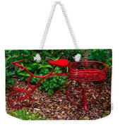 Parked Red Bicycle Weekender Tote Bag