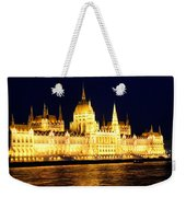 Parliament Building At Night In Budapest Weekender Tote Bag