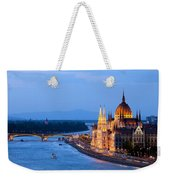 Parliament Building In Budapest At Evening Weekender Tote Bag