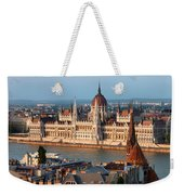 Parliament Building In Budapest At Sunset Weekender Tote Bag