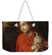 Parrot Watching A Boy Holding A Monkey Weekender Tote Bag